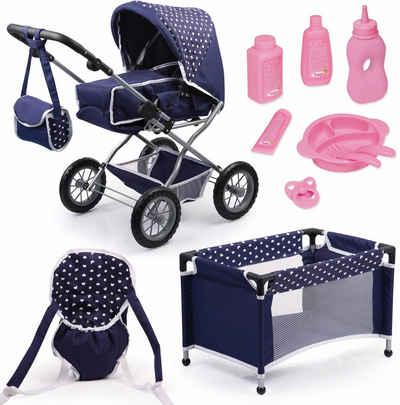 Bayer Kombi-Puppenwagen »Grande, Blau/Weiß«, (Set), mit Puppenbett und Puppenzubehör