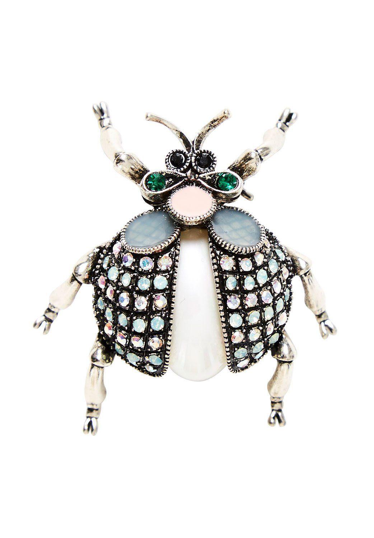 HALLHUBER Käfer-Brosche mit Strass-Verzierung