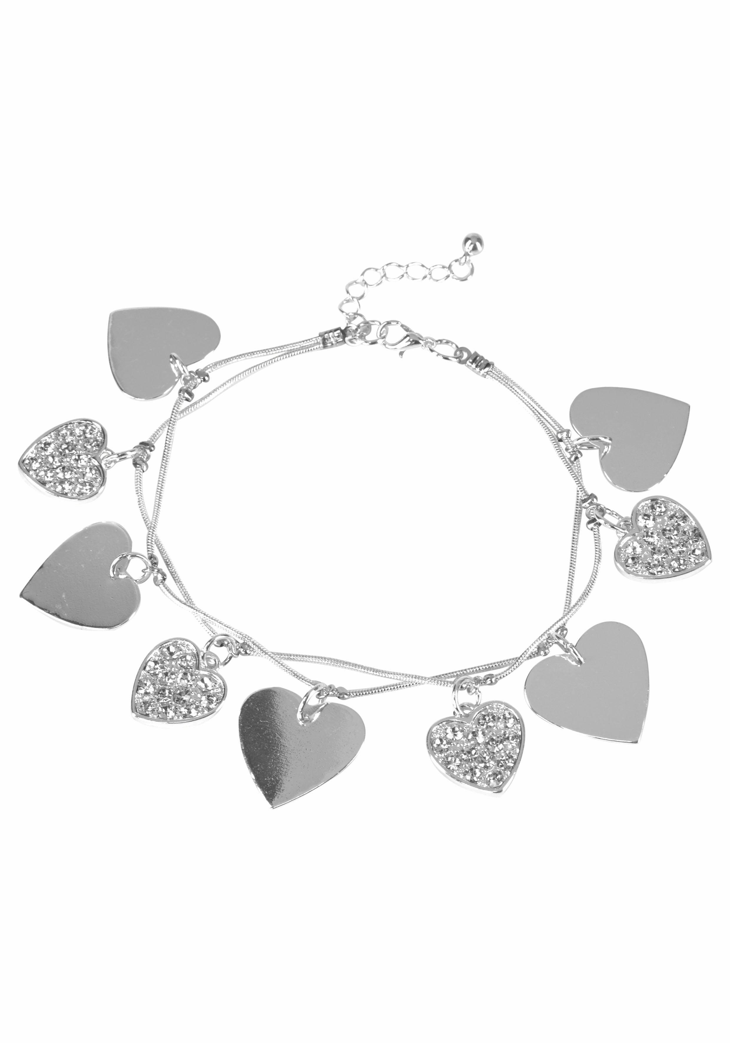J.Jayz Armband mit Herzen und Strasssteinen
