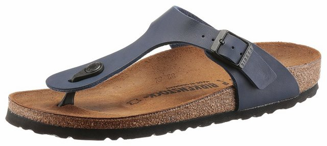 Damen Birkenstock GIZEH BF Zehentrenner in schmaler Schuhweite mit verstellbarer Schnalle blau | 04040714443096