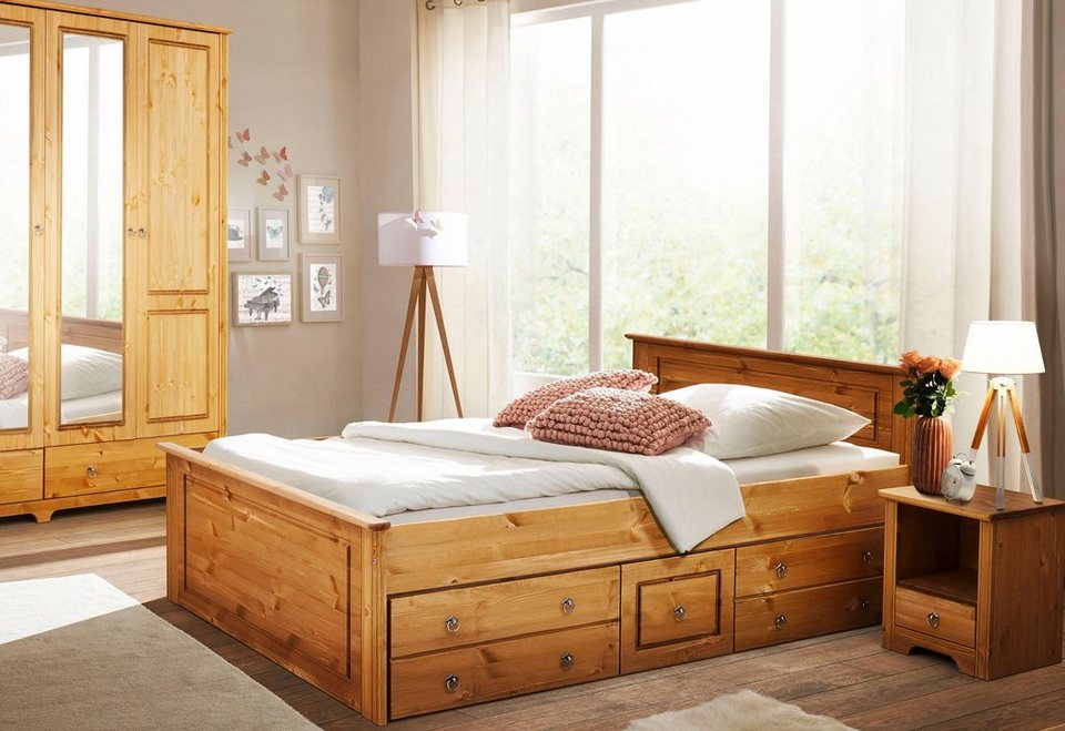 Home affaire Schlafzimmer-Set »Hugo«, Bett 140cm, 2-trg Kleiderschrank und  1 Nachttisch online kaufen | OTTO