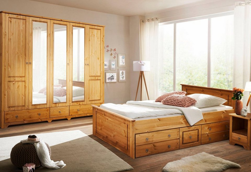 Home affaire Schlafzimmer-Set »Hugo«, Bett 180 cm, 5-trg Kleiderschrank und  2 Nachttische online kaufen | OTTO