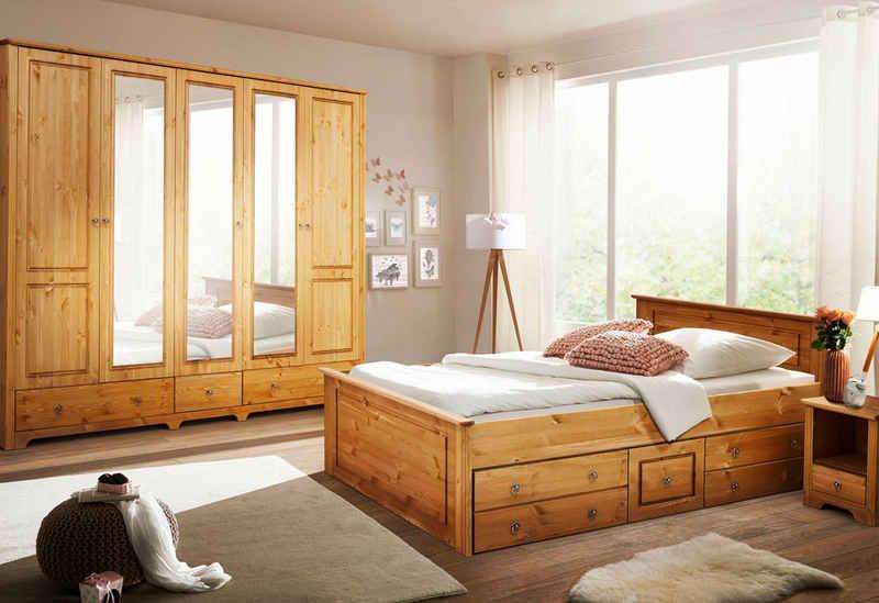 Home affaire Schlafzimmer-Set »Hugo«, (Set, 4-St), Bett 180 cm, 5-trg Kleiderschrank und 2 Nachttische