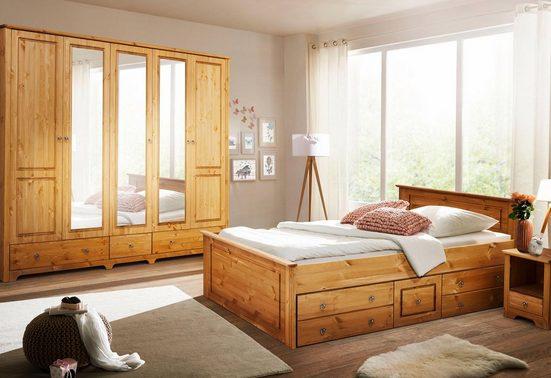 Home affaire Schlafzimmer-Set »Hugo«, (Set, 4-tlg), Bett 180 cm, 5-trg Kleiderschrank und 2 Nachttische