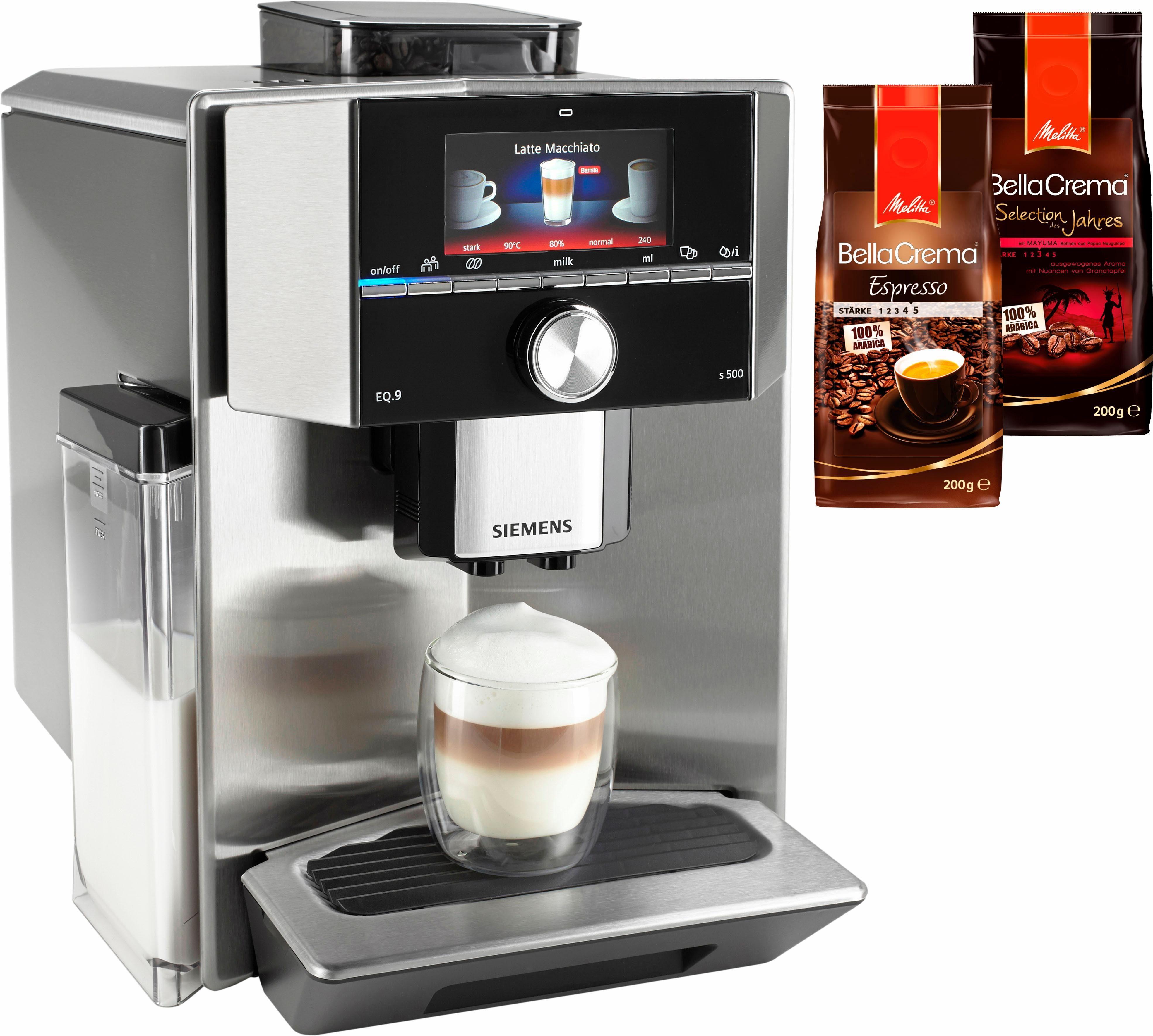 Siemens Kaffeevollautomat EQ.9 s500 TI905501DE, Integrierter Milchtank, 19 bar, 1500 Watt