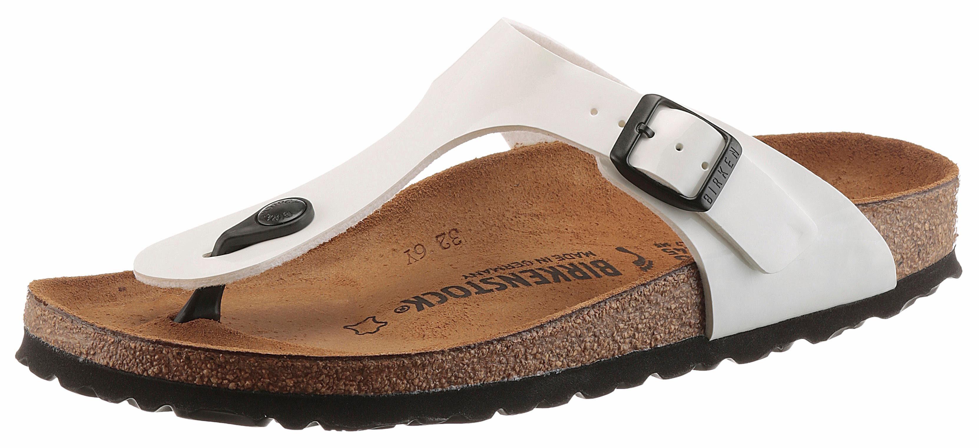 Birkenstock GIZEH Zehentrenner, in schmaler Schuhweite und Lack-Optik online kaufen  weiß