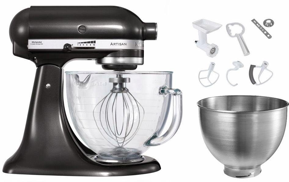 KitchenAid Küchenmaschine Artisan 5KSM156EBZ mit großer Glasschüssel und Sonderzubehör im Wert von ca. 205,-€