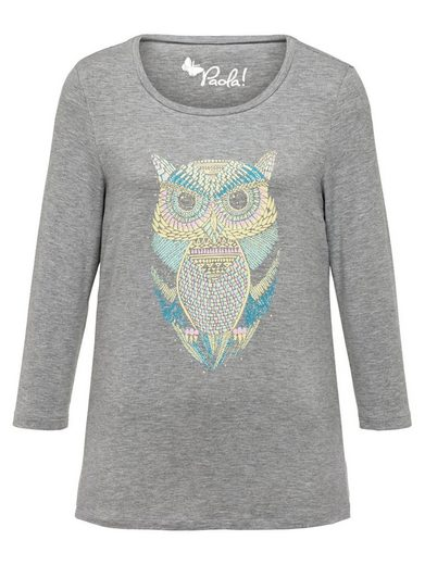 Paola Shirt mit kontrastfarbenem Eulendruck