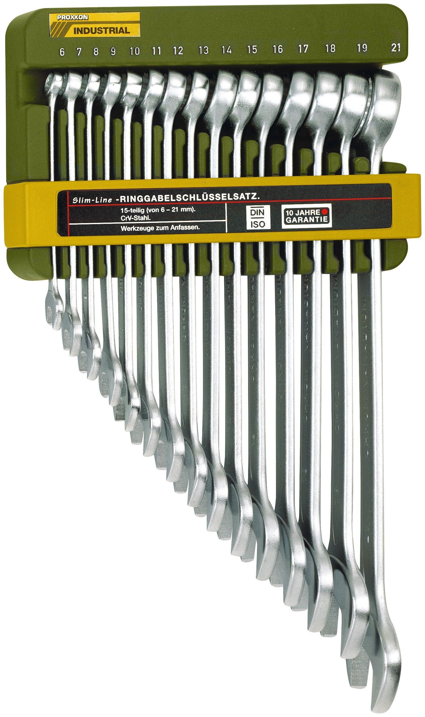 PROXXON Maulschlüsselsatz »Slim Line Ring-Maulschlüsselsatz, 6 - 21 mm«, (15-tlg.)