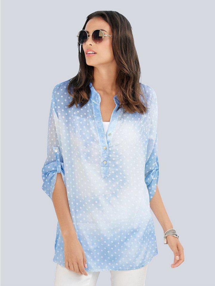 Damen Alba Moda  Tunika mit wolkigem Farbverlauf blau | 04055714629784