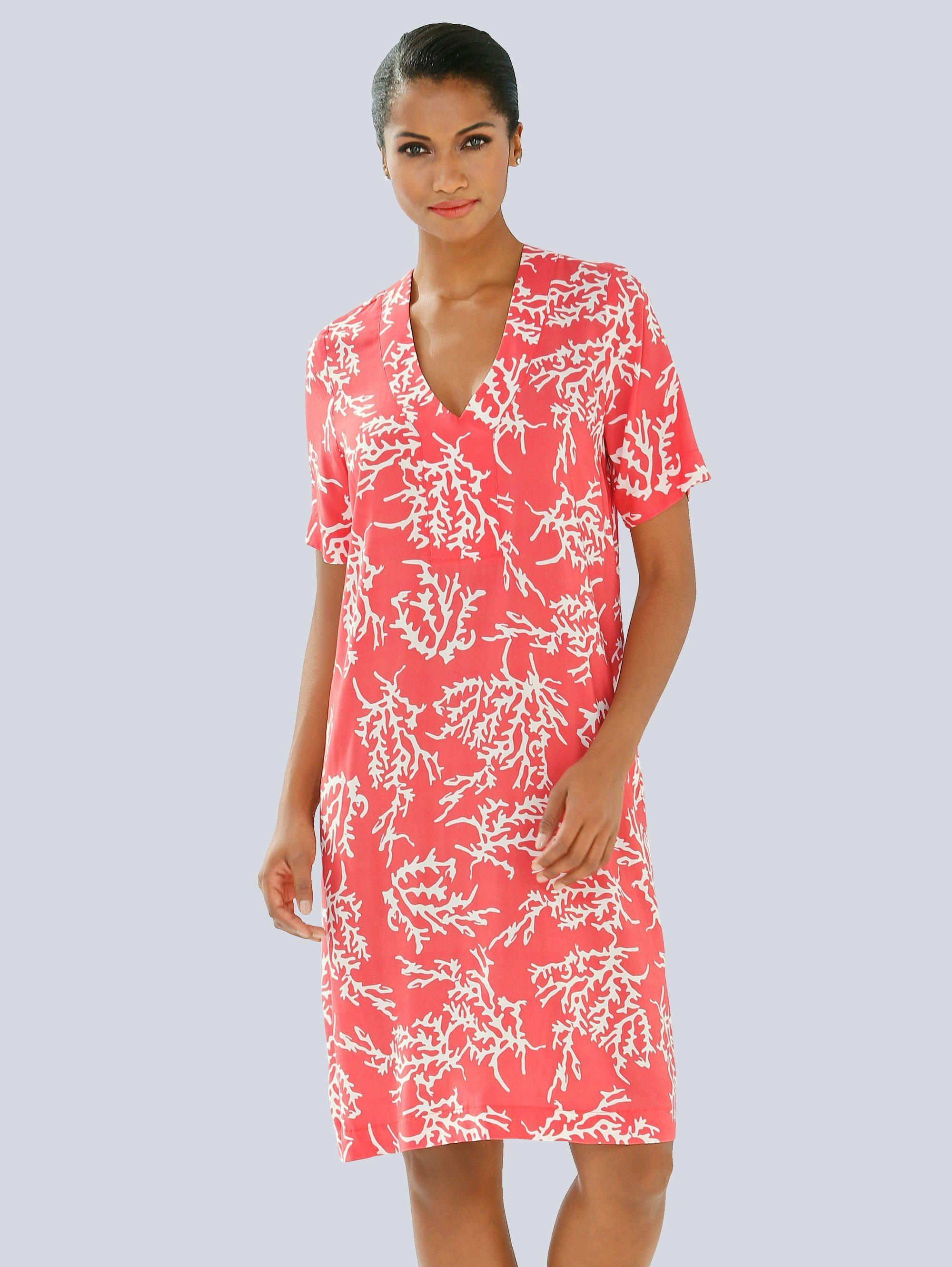Alba Moda Tunika-Kleid mit Korallendruck | Bekleidung > Tuniken > Sonstige Tuniken | Viskose | Alba Moda
