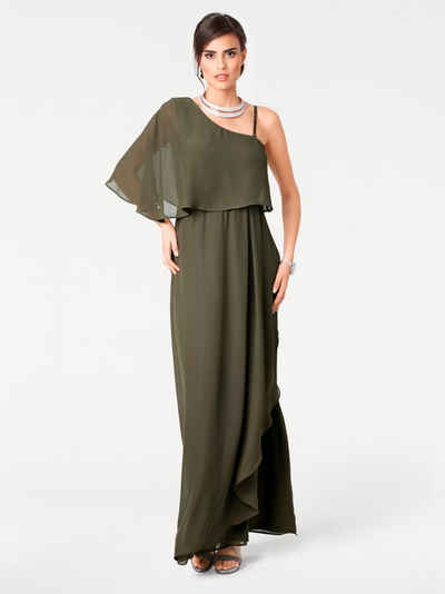 One shoulder kleid lang grau