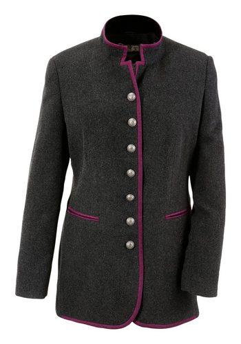 Damen Hohenstaufen Trachtenwalkjacke Damen mit Metallknöpfen grau | 04047899763971