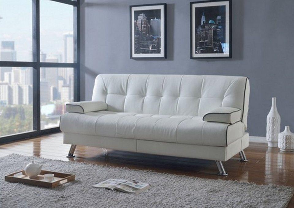 hti living schlafsofa sienna wei mit schublade otto. Black Bedroom Furniture Sets. Home Design Ideas