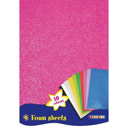 Playbox Glitzer-Moosgummi 10 Blatt A4, 10 Farben