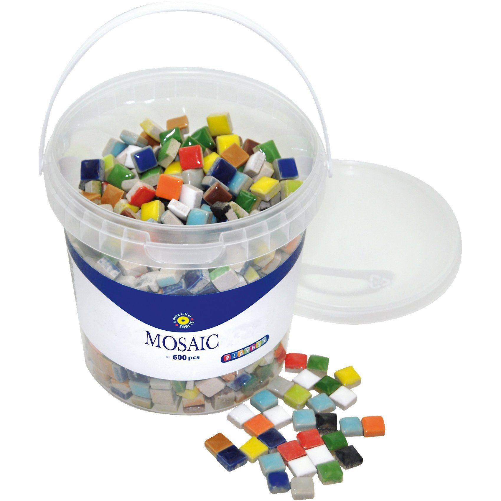 Playbox Mosaiksteine im Eimer bunt, 12 x 12 mm, 600 Stück