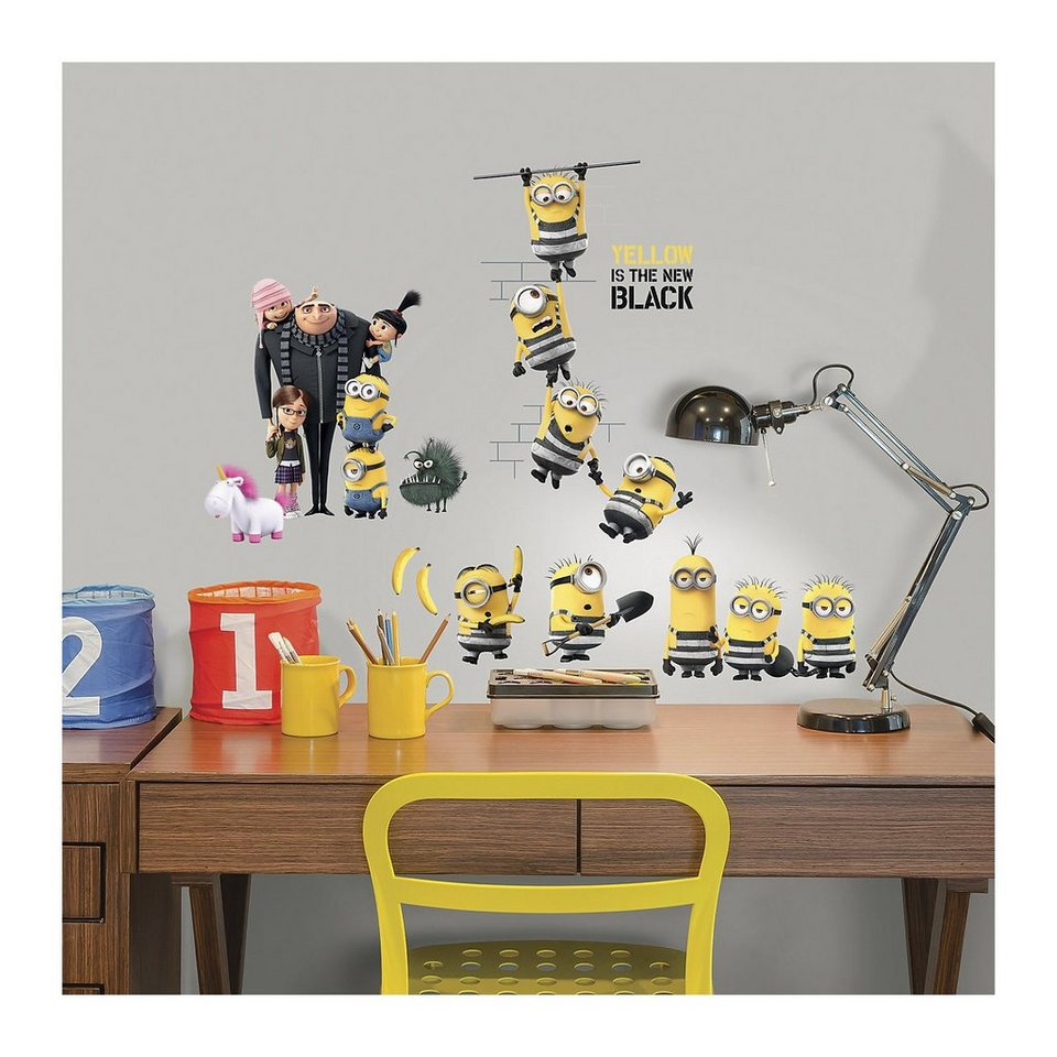 roommates wandsticker minions 18 tlg gelb otto. Black Bedroom Furniture Sets. Home Design Ideas