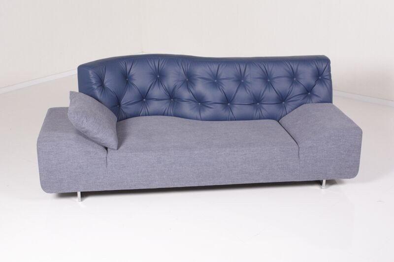 Kasper-Wohndesign Sofa Leder / Stoff Denim »Titanium ...