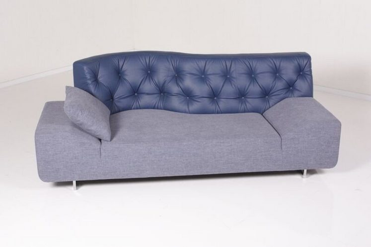 kasper wohndesign sofa leder stoff denim titanium. Black Bedroom Furniture Sets. Home Design Ideas