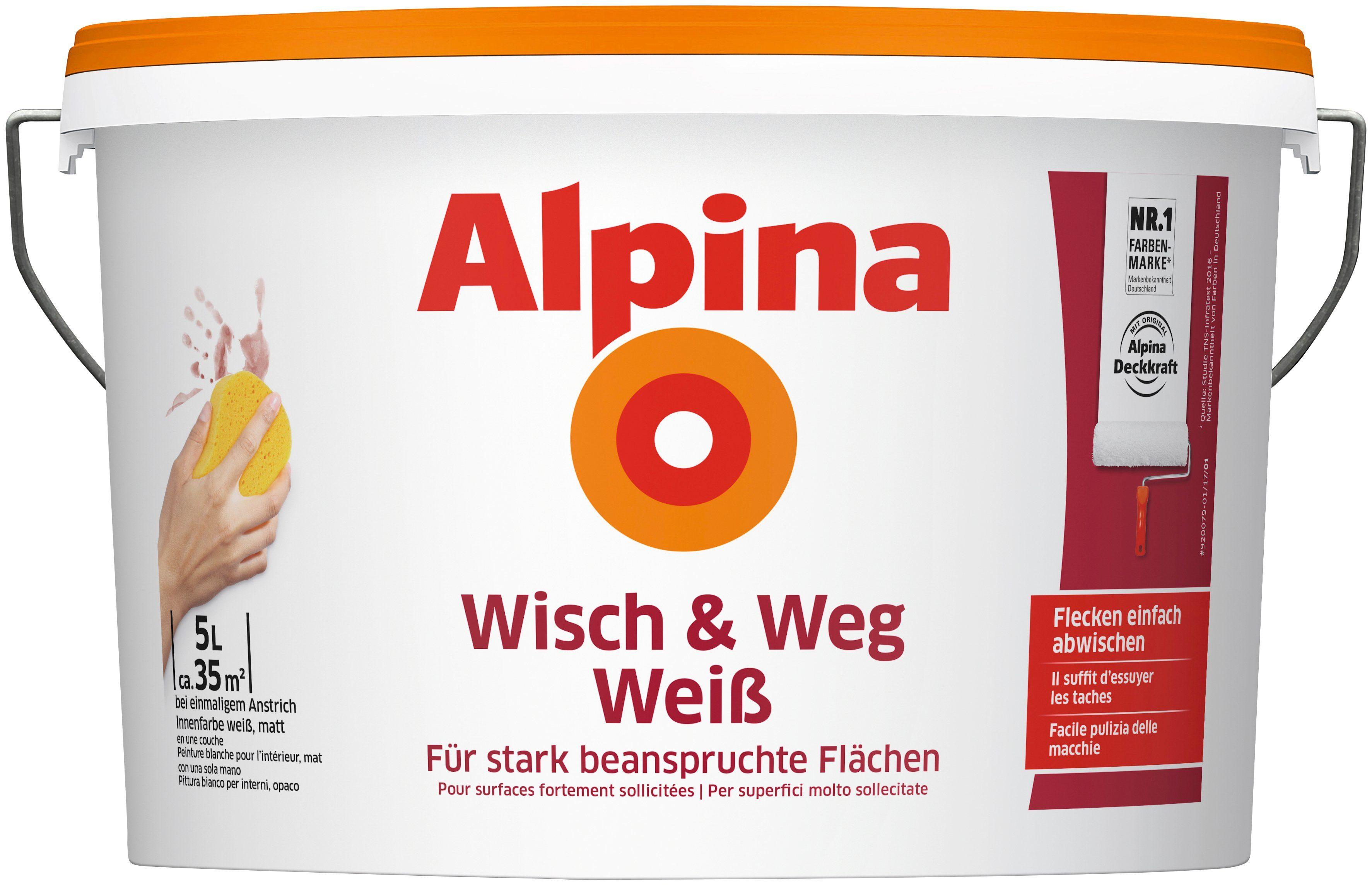 ALPINA Wand- und Deckenfarbe »Wisch & Weg Weiß«, 5 l