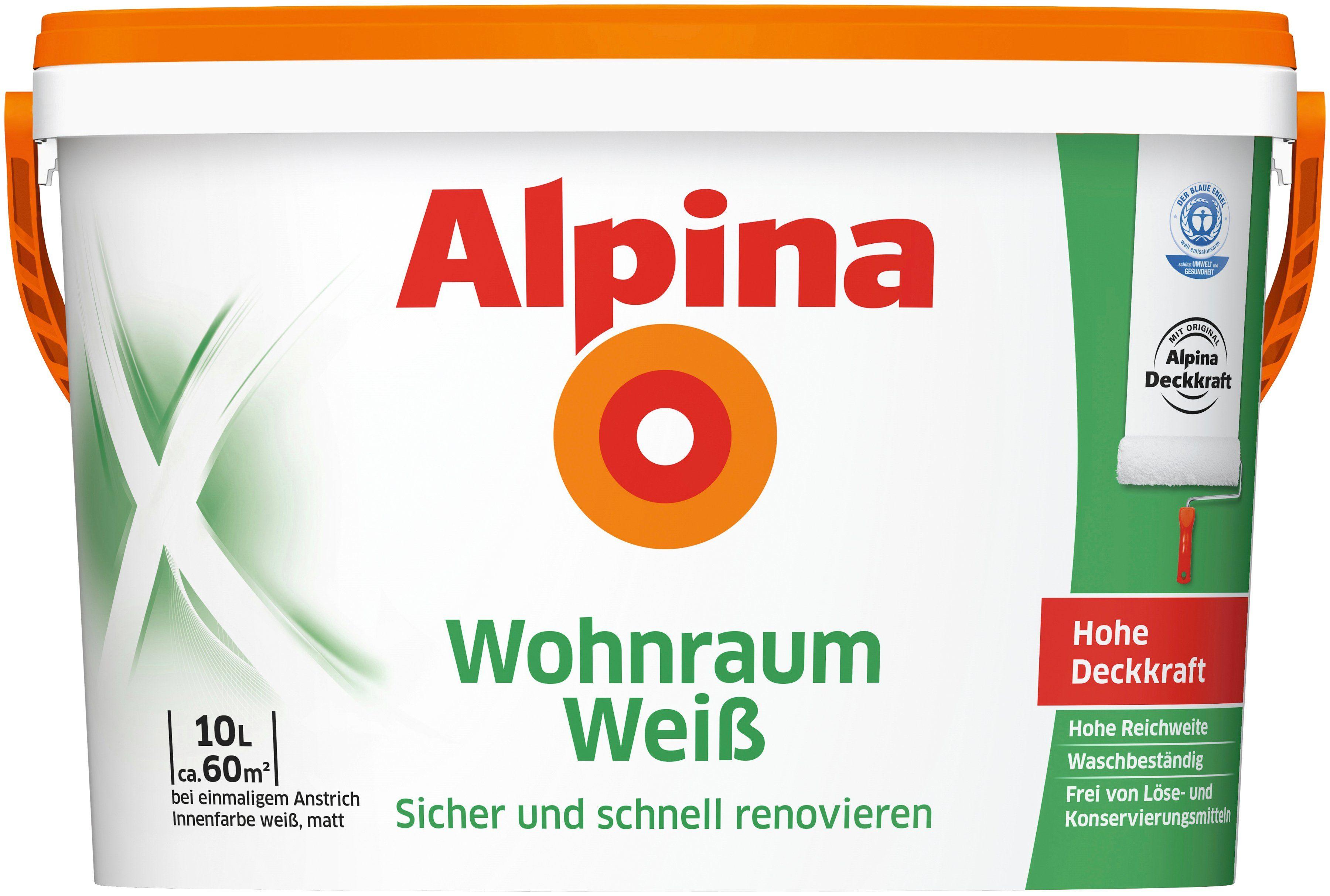 ALPINA Innenfarbe »Wohnraum-Weiß 10 L«, Sicher und schnell renovieren
