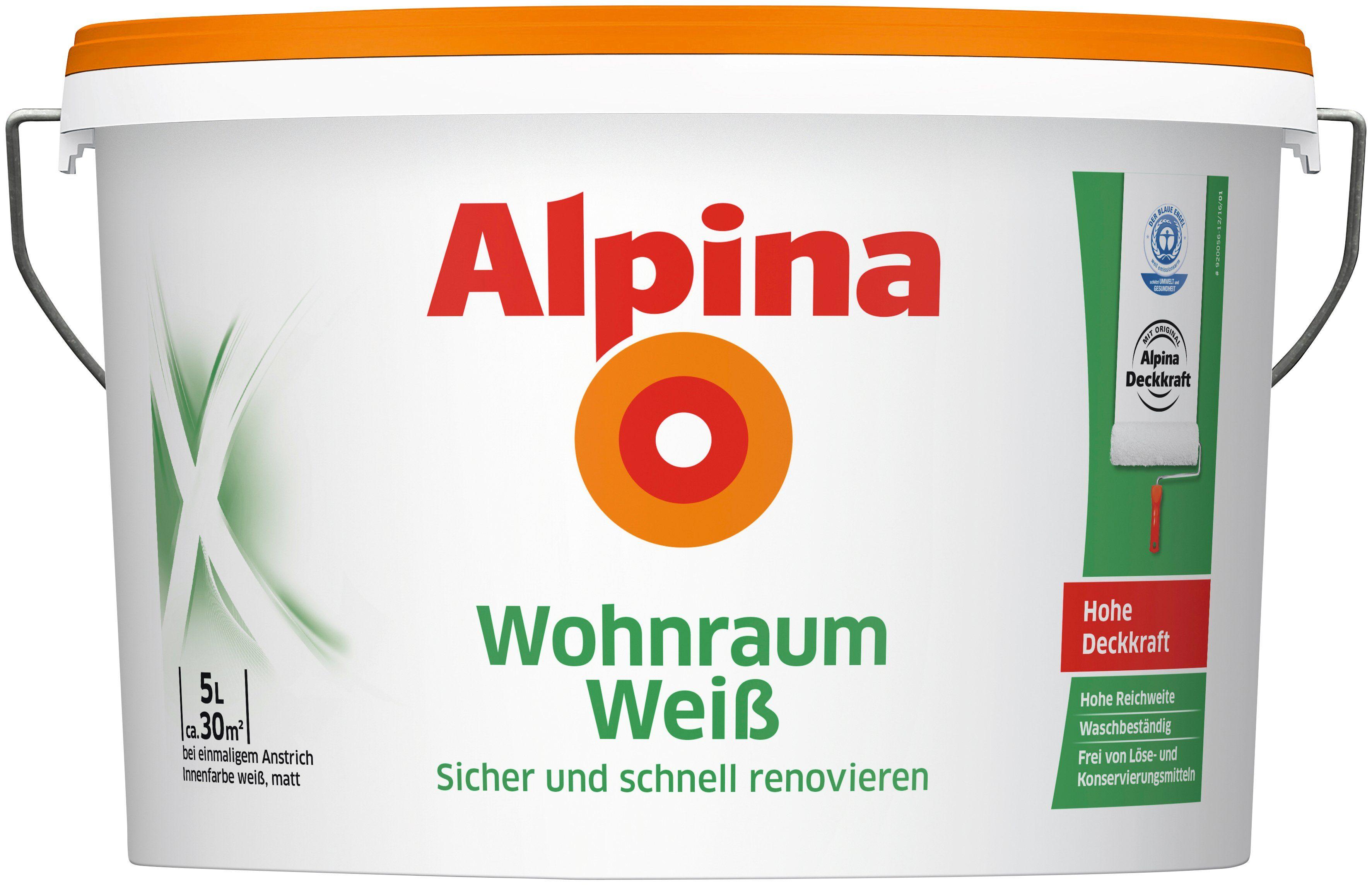 ALPINA Innenfarbe »Wohnraum-Weiß 5 L«, Sicher und schnell renovieren