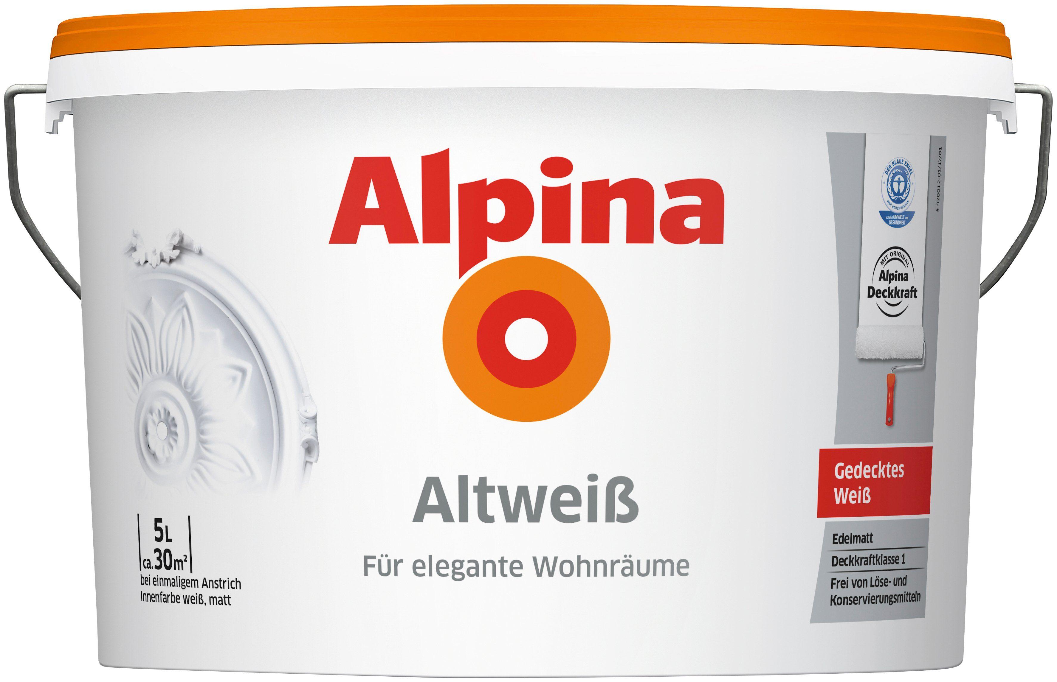 ALPINA Wand- und Deckenfarbe »Altweiss«, 5 l, matt