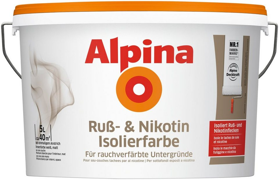 alpina innenfarbe ru und nikotin isolierfarbe 5l. Black Bedroom Furniture Sets. Home Design Ideas