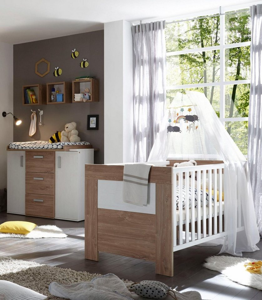 spar set bergen babybett wickelkommode 2 tlg in eiche nb pinie wei nb online kaufen. Black Bedroom Furniture Sets. Home Design Ideas