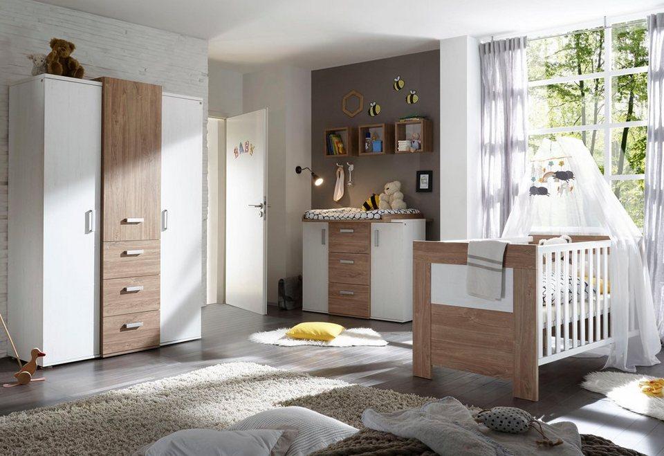 komplettzimmer bergen babybett wickelkommode kleiderschrank 3 tlg in eiche nb pinie. Black Bedroom Furniture Sets. Home Design Ideas