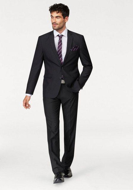 Herren Bruno Banani Anzug (Set 4 tlg. mit Krawatte und Einstecktuch) schwarz | 04043012988429