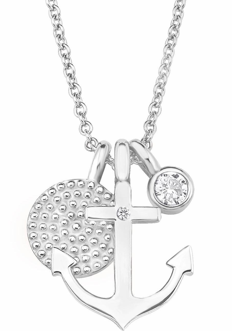 s.Oliver RED LABEL Silberkette »Anker/Kreise, 2017246« mit Zirkonia   Schmuck > Halsketten > Silberketten   Silber   s.Oliver RED LABEL