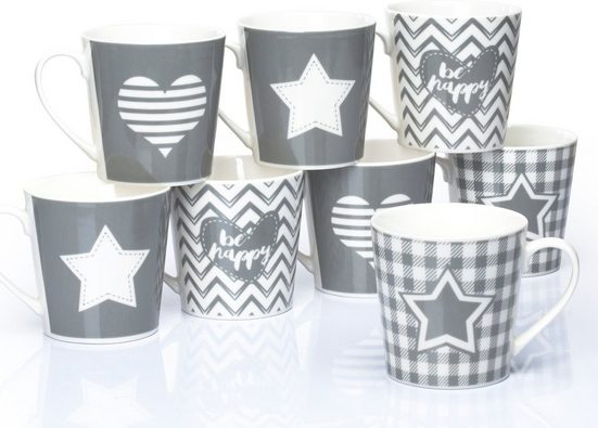 Retsch Arzberg Becher »Grey Star & Heart« (8-tlg), Fine China-Porzellan
