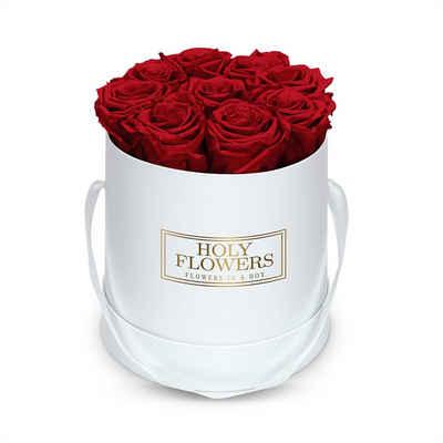 Kunstblume »Runde Rosenbox in weiß mit 8- 12 Infinity Rosen I 3 Jahre haltbar I Echte, duftende konservierte Blumen I by Raul Richter« Rose, Holy Flowers, Höhe 15 cm