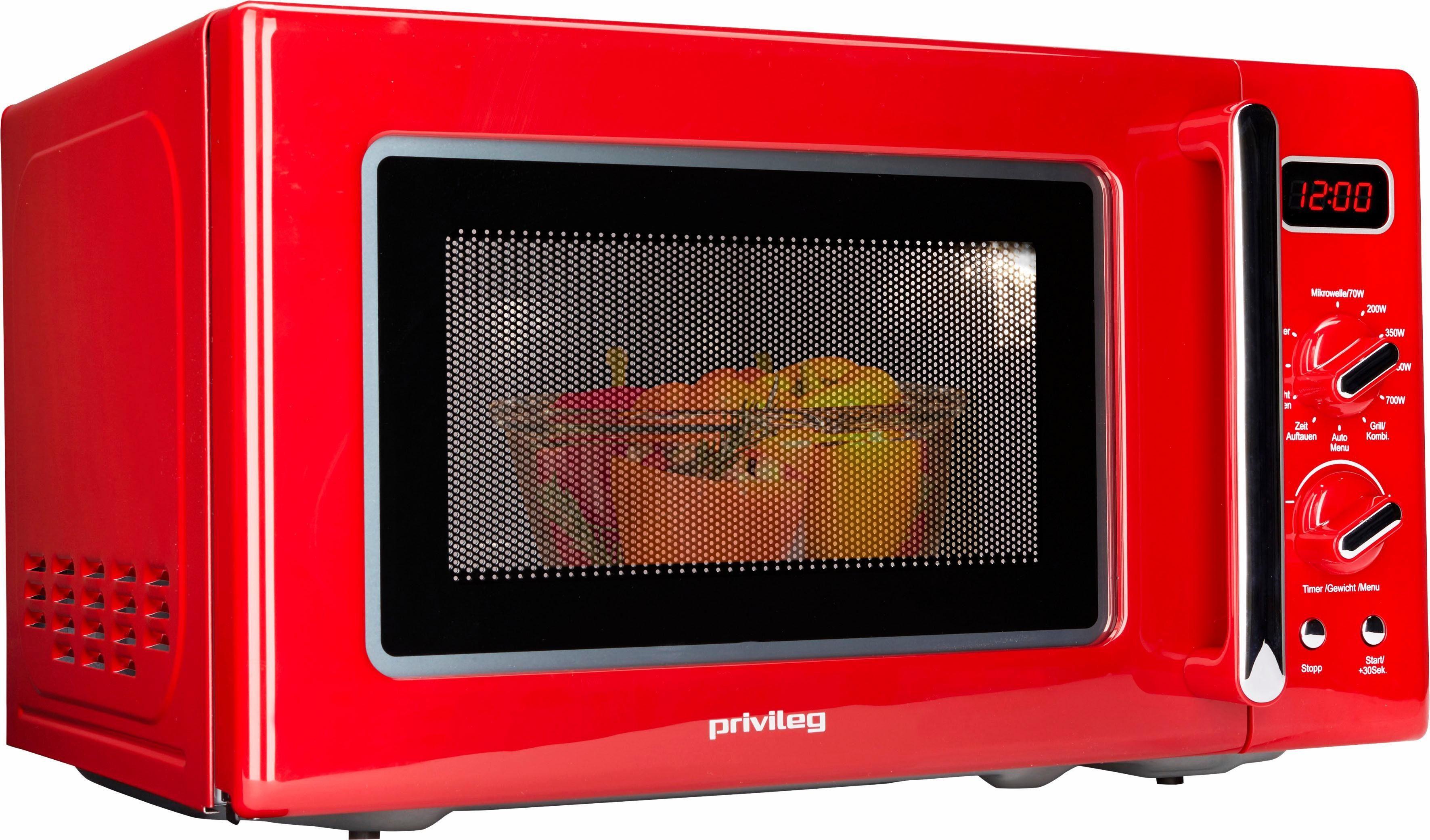 Privileg Mikrowelle im Retro-Design, 700 W, 8 Automatikprogramme