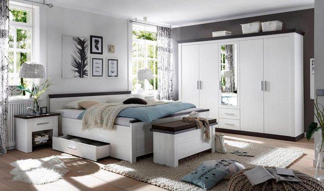 Schlafzimmer Sets - Home affaire Schlafzimmer Set »Siena«, (Set, 4 tlg), 5trg. Kleiderschrank, Bett 180 cm, 2 Nachttische  - Onlineshop OTTO