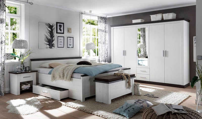 Home affaire Schlafzimmer-Set »Siena«, (Set, 4-St), 5trg. Kleiderschrank, Bett 180 cm, 2 Nachttische