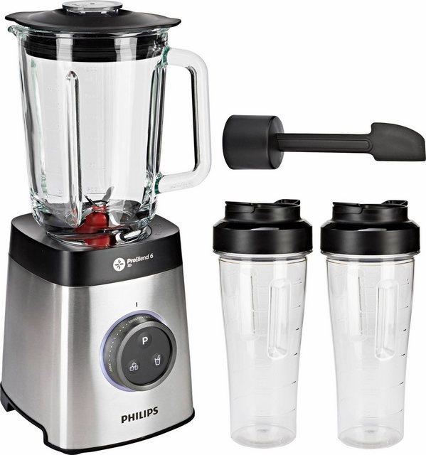 Philips Standmixer HR3655/00, 1400 W, ProBlend 6 3D Technologie, 2 Liter Glasbehälter, 2x Trinkbecher, Spülmaschinenfest)