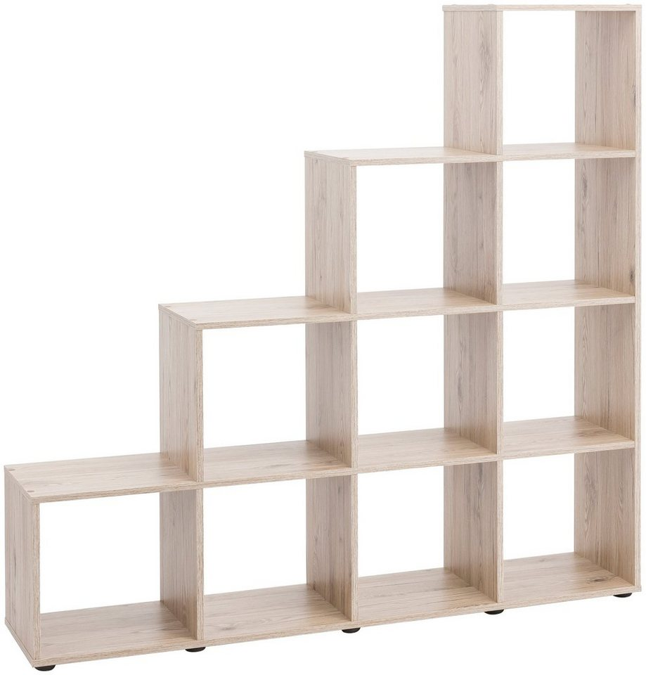 raumteiler und treppenregal mit 10 f chern ma e 138. Black Bedroom Furniture Sets. Home Design Ideas