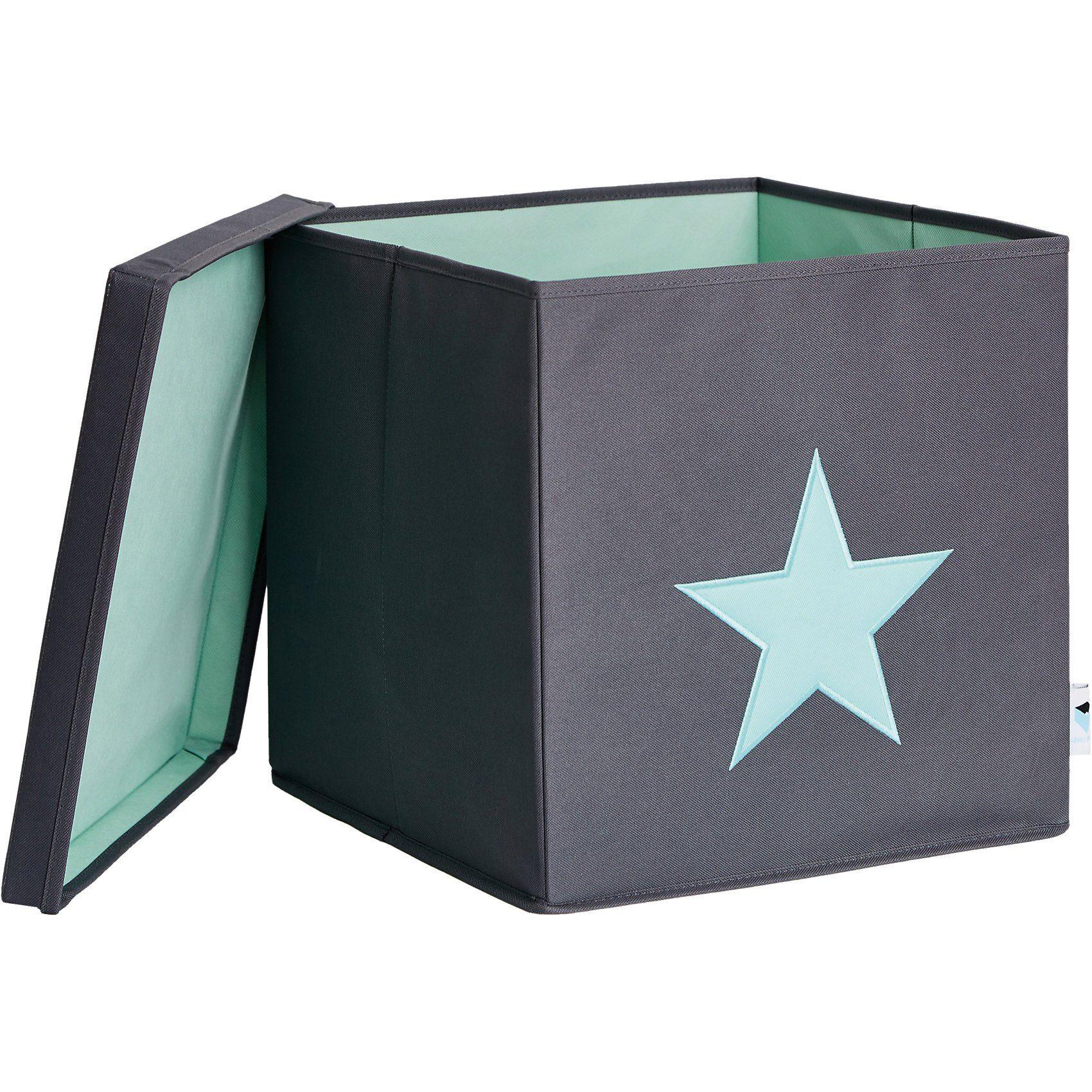 STORE IT! Ordnungsbox mit Deckel (MDF), grau mit mintgrünem Stern