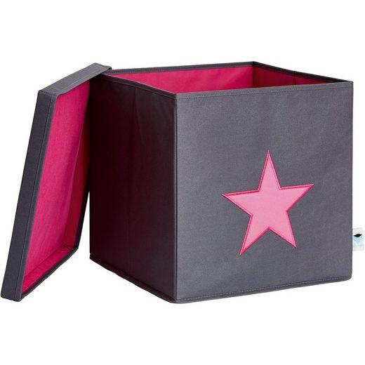 STORE IT! Ordnungsbox mit Deckel (MDF), grau mit pinkem Stern