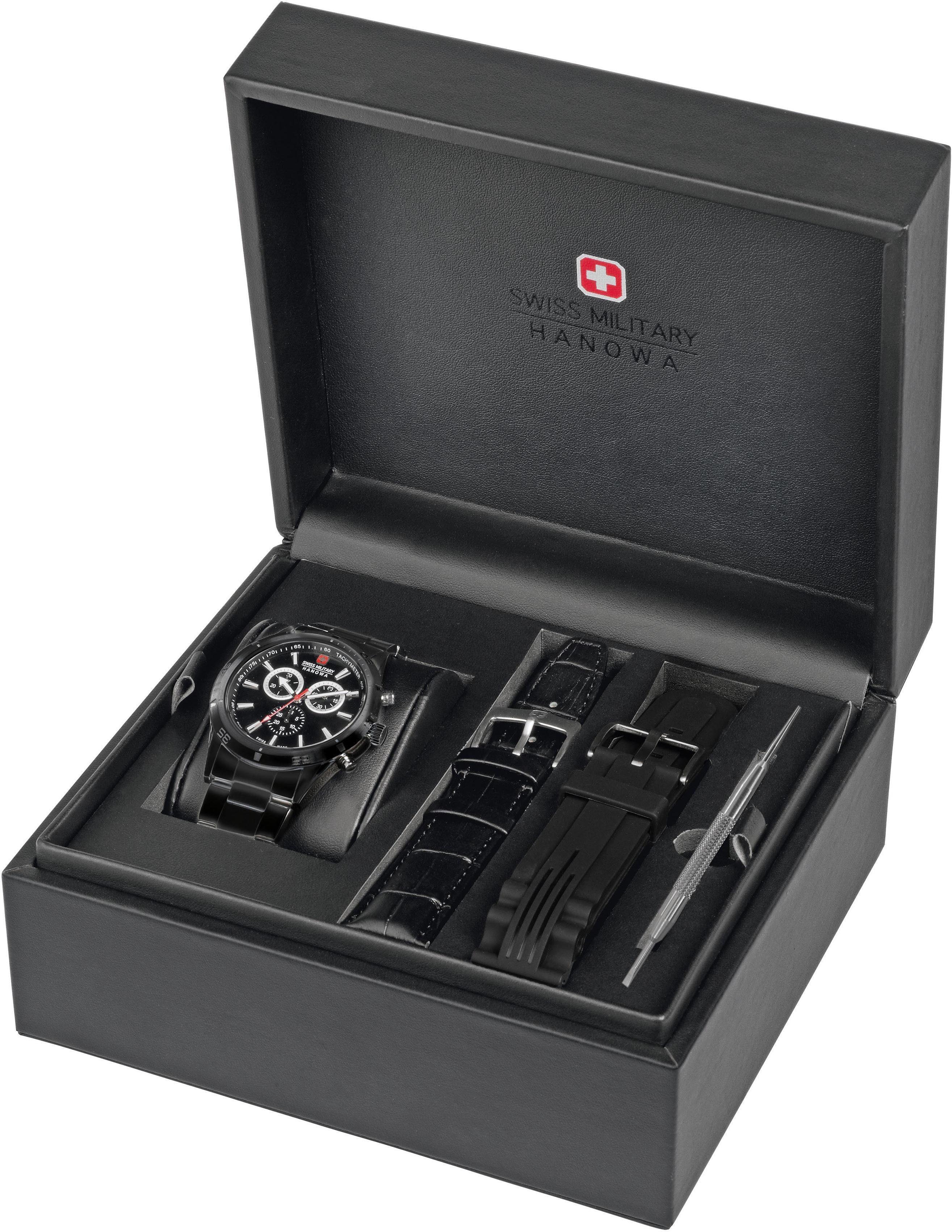 Swiss Military Hanowa Chronograph »OPPORTUNITY CHRONO SET, 6-8041.13.007 Set« (Set, 3 tlg), mit 2 Wechselbändern
