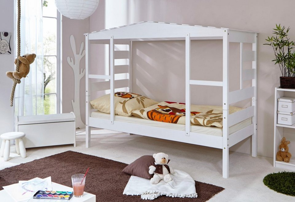 ticaa kinderbett in hausoptik aus massiver kiefer wahlweise mit textil set online kaufen otto. Black Bedroom Furniture Sets. Home Design Ideas