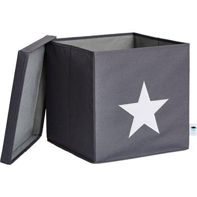 store it ordnungsbox mit deckel mdf grau mit wei em. Black Bedroom Furniture Sets. Home Design Ideas
