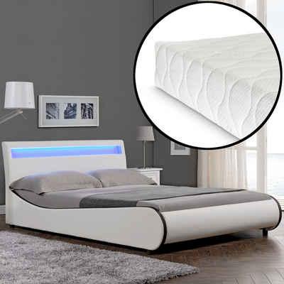 Corium Polsterbett, LED Modernes Polsterbett + Matratze 140x200cm Kunst-Leder Weiß Bett CORIUM