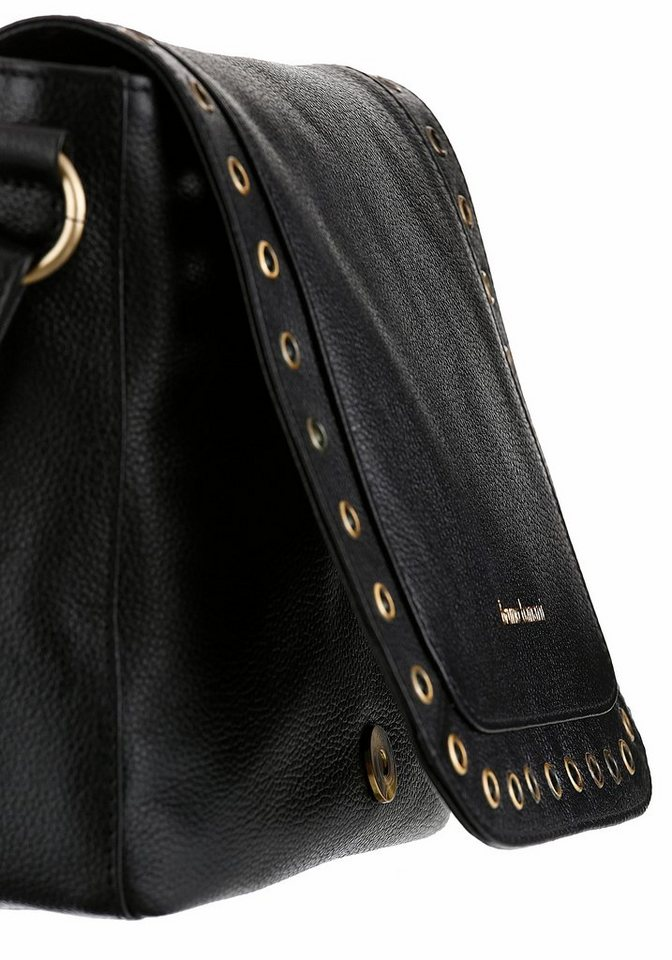 Bruno Banani Umhängetasche, Satteltasche aus Leder mit modischen Nieten und abnehmbarer Quaste