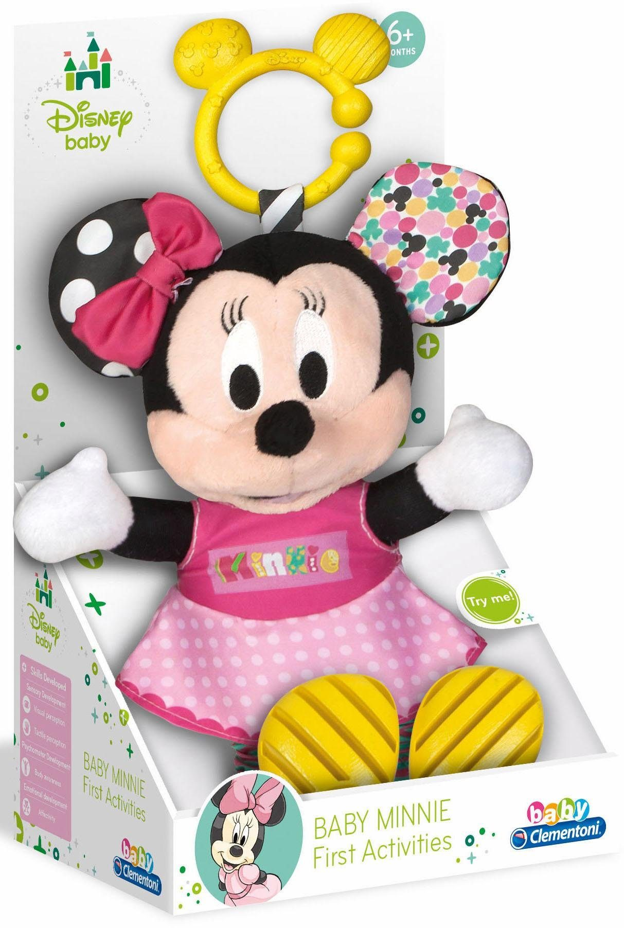 Clementoni Kuscheltier Maus, »Disney Baby, Plüsch Minnie mit Beißring«