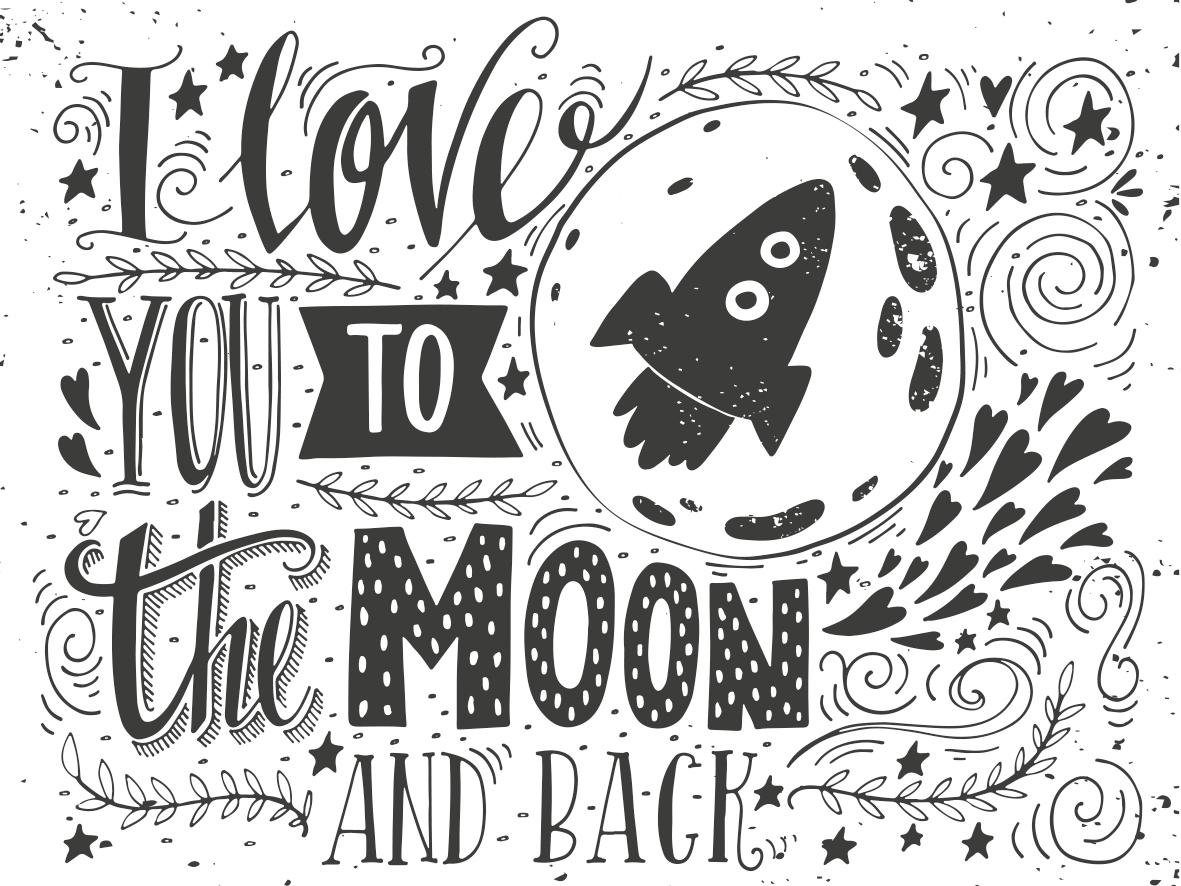 Leinwandbild »Moon«, Schriftzüge