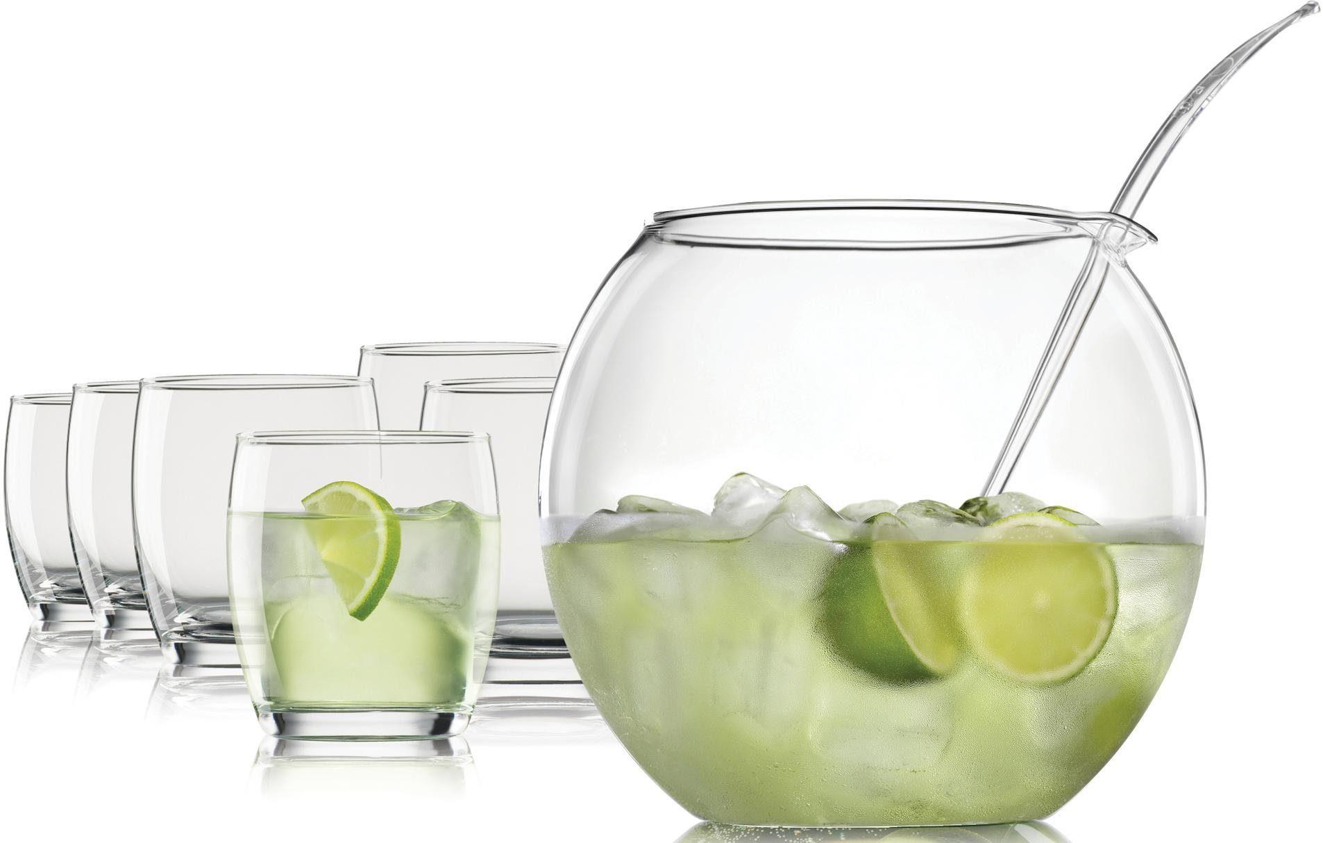 Bohemia Selection Bowle-Set, Borosilikatglas (Bowlekörper) und Kristallglas (Bowlebecher), 8 Teile