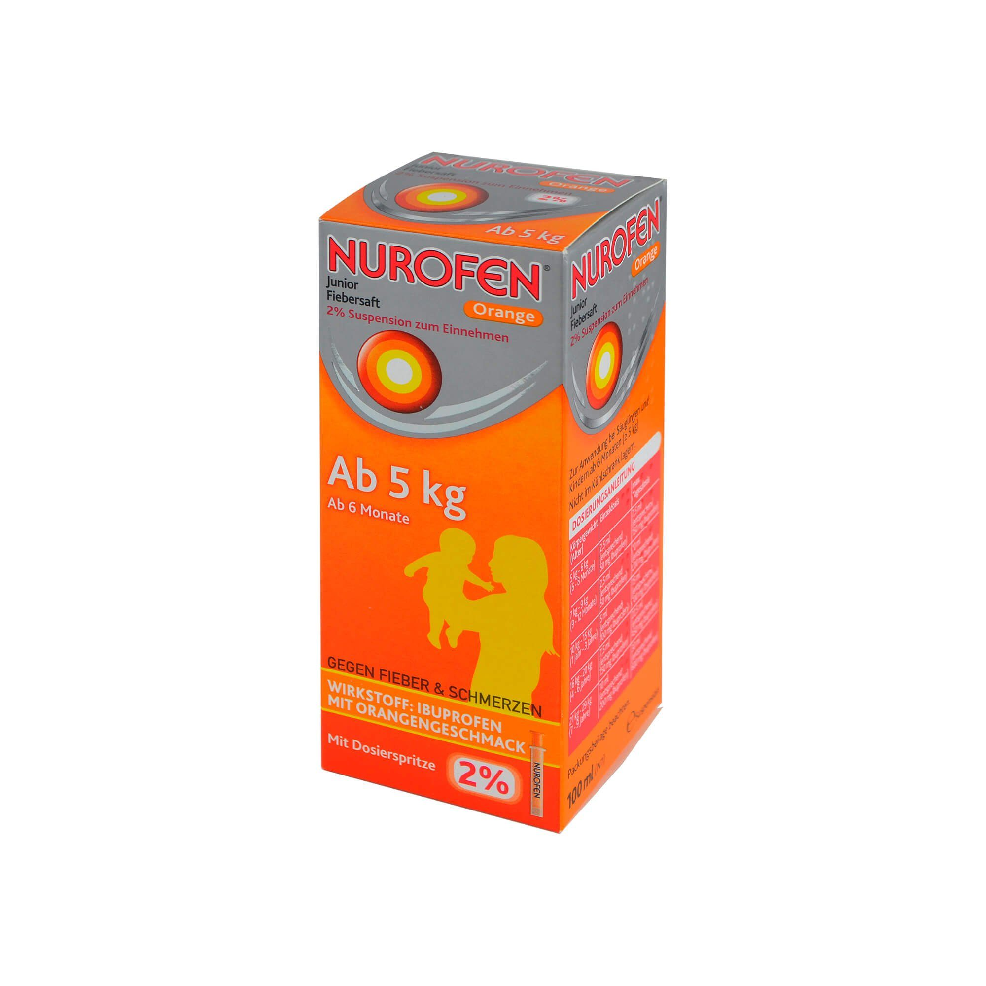 Nurofen Junior Fiebersaft Orange 2% , 100 ml